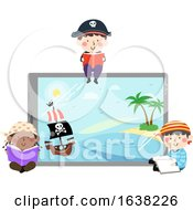 Kids Pirates Tablet Reading Book Illustration