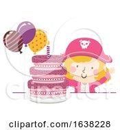 Kid Girl Pirate Party Cake Balloon Illustration