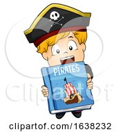 Kid Boy Hold Pirate Book Illustration