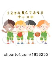 Kids Boys Basketball Numbers Math Illustration
