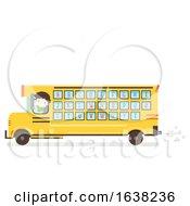 Kid Boy School Bus Alphabet Illustration