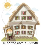 Kid Boy Peasant House Numbers Illustration