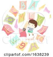 Kid Boy Pencil Flying Papers Alphabet Illustration