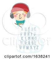 Kid Boy Write Snow Stick Alphabet Illustration