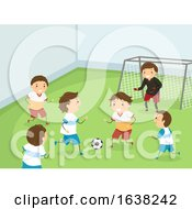Poster, Art Print Of Stickman Kids Play Indoor Football Illustration