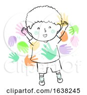Poster, Art Print Of Kid Boy Doodle Meet Peers Friends Illustration