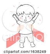 Poster, Art Print Of Kid Boy Doodle Parent Hands Lift Up Illustration