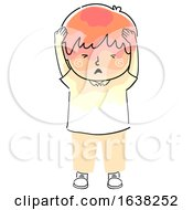 Kid Boy Doodle Headache Pressure Illustration
