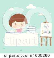 Kid Boy Self Publish Book Signing Illustration