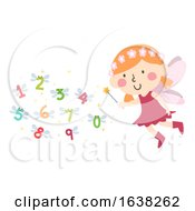 Kid Girl Fairy Wand Numbers Wings Illustration