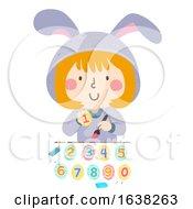 Poster, Art Print Of Kid Girl Paint Numbers Easter Eggs Illustration