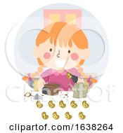 Kid Girl Planting Seeds Numbers Illustration