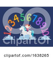 Kid Girl Unicorn Rainbow Numbers Illustration