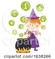 Kid Girl Witch Cook Bubbles Numbers Illustration