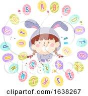 Poster, Art Print Of Kid Girl Easter Egg Paint Alphabet Illustration