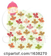 Kid Girl Autumn Leaves Alphabet Illustration