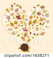 Kid Girl Autumn Leaves Shape Heart Illustration
