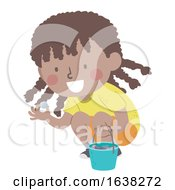 Kid Girl Black Picking Cool Rocks Illustration