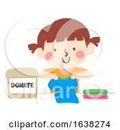 Kid Girl Donate Clothes Box Fold Illustration
