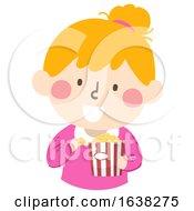 Kid Girl Eat Pop Corn Illustration