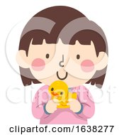 Kid Girl Holding Rubber Duckie Illustration