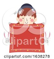 Kid Girl Magician Handkerchief Banner Illustration