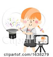 Kid Girl Magic Record Performance Illustration