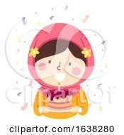 Kid Girl Muslim Birthday Cake Illustration
