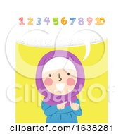 Kid Girl Muslim Count Numbers Aloud Illustration