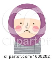 Kid Girl Muslim Sad Illustration