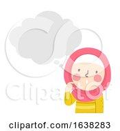 Kid Girl Muslim Thinking Bubble Illustration
