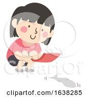 Kid Girl Paper Fish Race Illustration