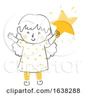 Kid Girl Doodle Hold Shining Star Illustration