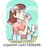Girl Symptom Increased Thirst Illustration