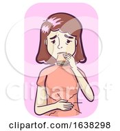 Girl Symptoms Increased Hunger Eating Illustration