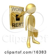 Gold Businessman With His Head Attached To A Lever That Is In Work Mode Carrying A Briefcase Clipart Illustration Graphic