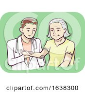 Senior Woman Joint Pain Check Up Illustration