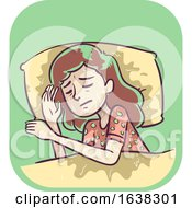 Girl Symptom Soaking Night Sweats Illustration