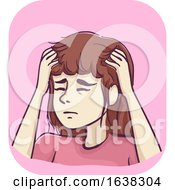 Girl Symptom Itchy Head Illustration