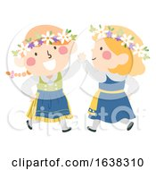 Poster, Art Print Of Kids Girls Sweden Midsummer Festival Dance