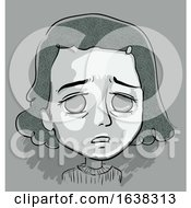 Kid Girl Stressed Illustration