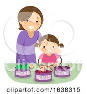Poster, Art Print Of Stickman Kid Girl Mom Sort Flower Home School