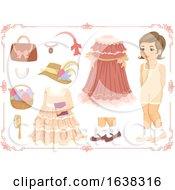 Poster, Art Print Of Kid Girl Doll Dress Up Victorian Illustration