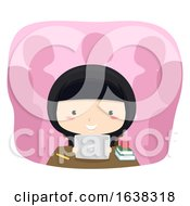 Kid Girl Qatar Tablet Class Illustration