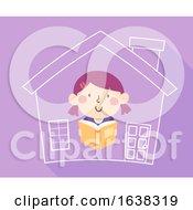 Kid Girl Read Book Home School Illustration