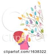 Poster, Art Print Of Kid Girl Sweden Easter Twigs Decorate Illustration