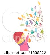 Kid Girl Sweden Easter Twigs Decorate Illustration