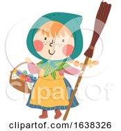 Poster, Art Print Of Kid Girl Sweden Easter Witch Eggs Illustration