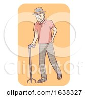 Senior Man Symptom Limping Cane Illustration