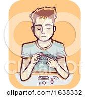 Man HIV Test Kit Illustration